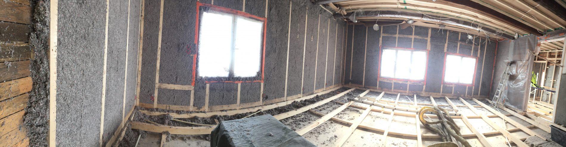 kesämökki, savitaipale, heituinlahti, seinän eristäminen sisäpuolelta ruiskuttamalla, isocell selluvilla puhalluseriste